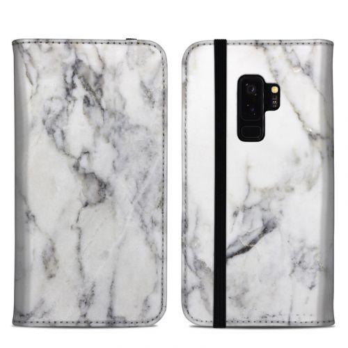 White Marble Samsung Galaxy S9 Plus Folio Case