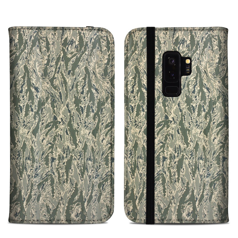 Samsung Galaxy S9 Plus Folio Case design of Pattern, Grass, Plant with gray, green colors