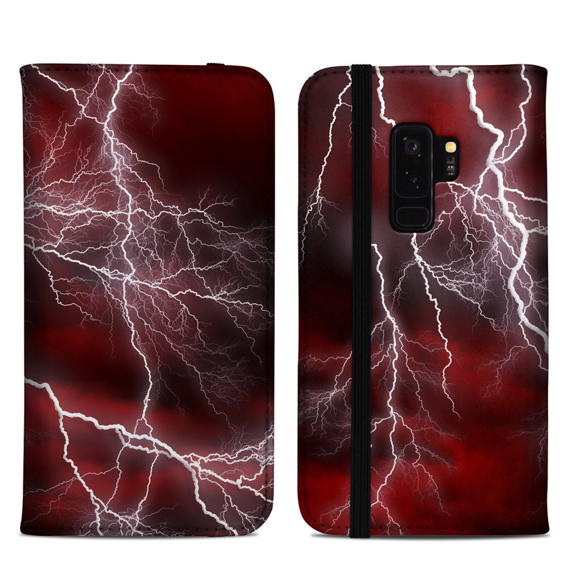 Samsung Galaxy S9 Plus Folio Case design of Thunder, Thunderstorm, Lightning, Red, Nature, Sky, Atmosphere, Geological phenomenon, Lighting, Atmospheric phenomenon with red, black, white colors