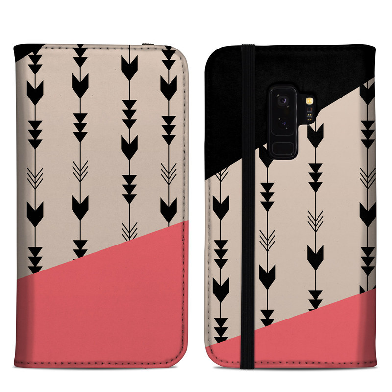 Samsung Galaxy S9 Plus Folio Case design of Line, Pattern, Design, Font, Illustration with black, gray, pink colors