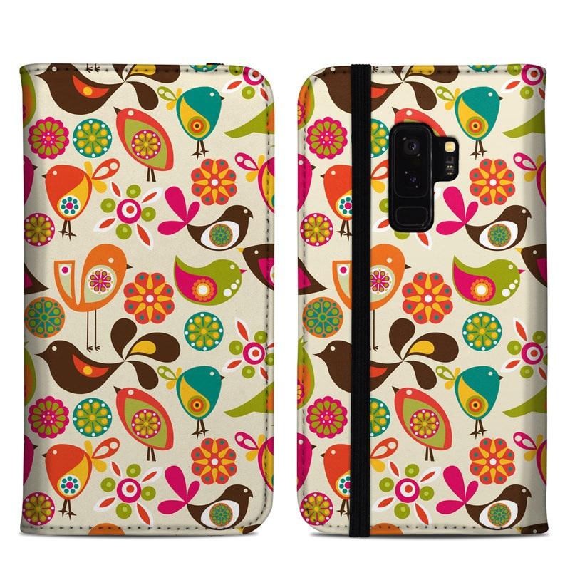 Samsung Galaxy S9 Plus Folio Case design of Pattern, Visual arts, Wrapping paper, Design, Clip art, Textile, Motif, Sticker, Graphics with yellow, pink, orange, green, brown, blue colors