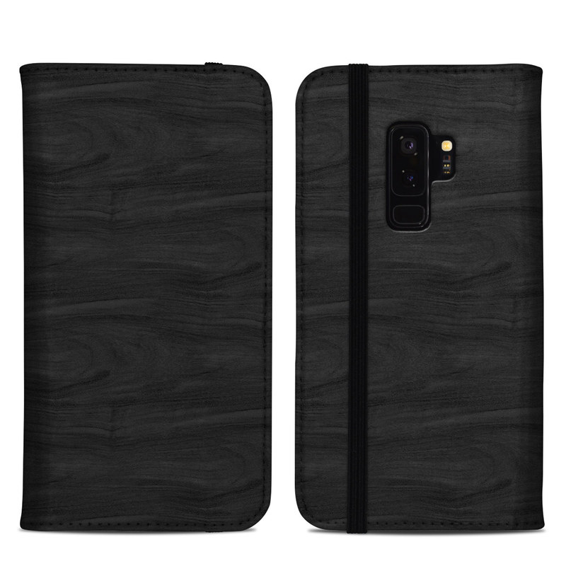 Samsung Galaxy S9 Plus Folio Case design of Black, Brown, Wood, Grey, Flooring, Floor, Laminate flooring, Wood flooring with black colors
