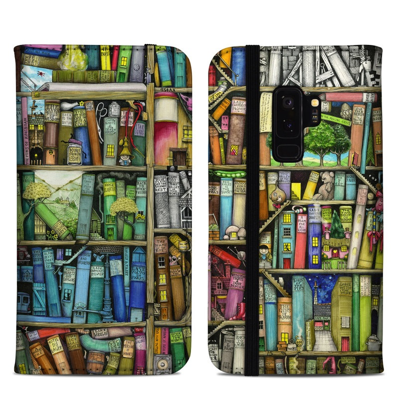 Samsung Galaxy S9 Plus Folio Case design of Collection, Art, Visual arts, Bookselling, Shelving, Painting, Building, Shelf, Publication, Modern art with brown, green, blue, red, pink colors
