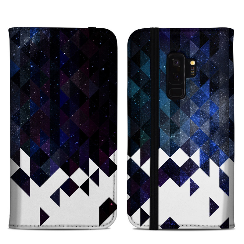 Samsung Galaxy S9 Plus Folio Case design of Text, Pattern, Graphic design, Font, Purple, Design, Line, Triangle, Logo, Graphics with black, blue, white colors