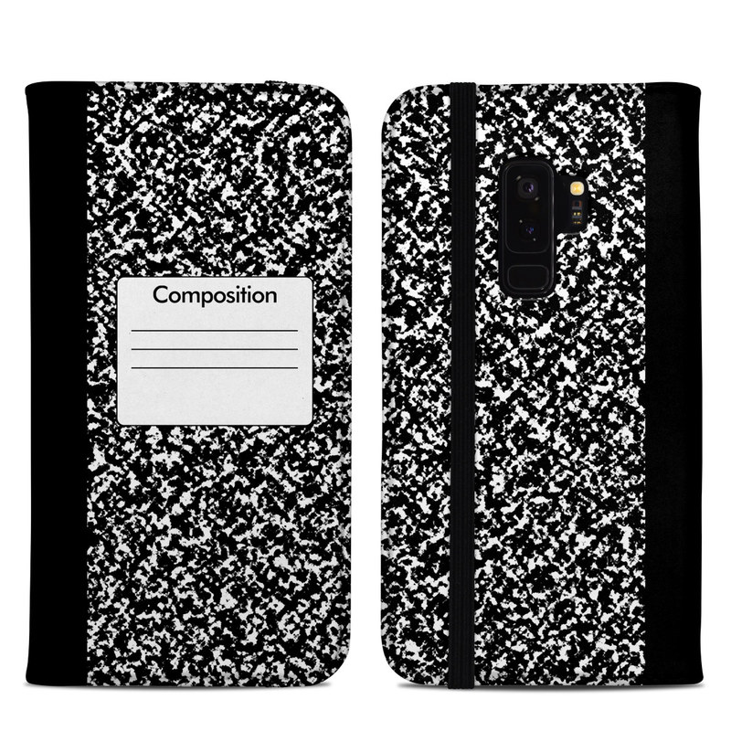 Samsung Galaxy S9 Plus Folio Case design of Text, Font, Line, Pattern, Black-and-white, Illustration with black, gray, white colors
