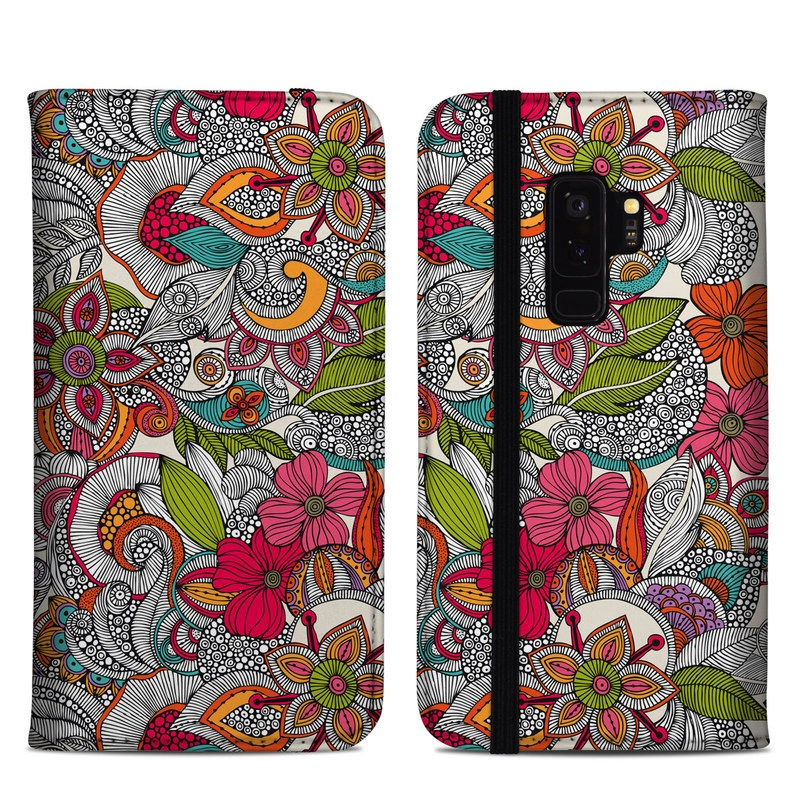 Samsung Galaxy S9 Plus Folio Case design of Pattern, Drawing, Visual arts, Art, Design, Doodle, Floral design, Motif, Illustration, Textile with gray, red, black, green, purple, blue colors