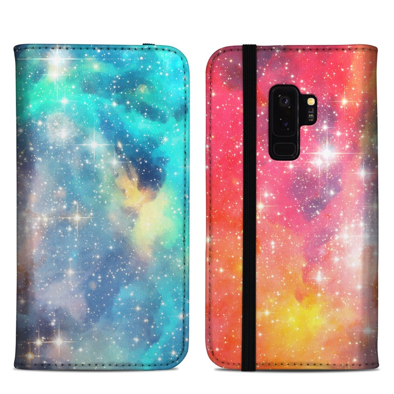 Samsung Galaxy S9 Plus Folio Case design of Nebula, Sky, Astronomical object, Outer space, Atmosphere, Universe, Space, Galaxy, Celestial event, Star with white, black, red, orange, yellow, blue colors