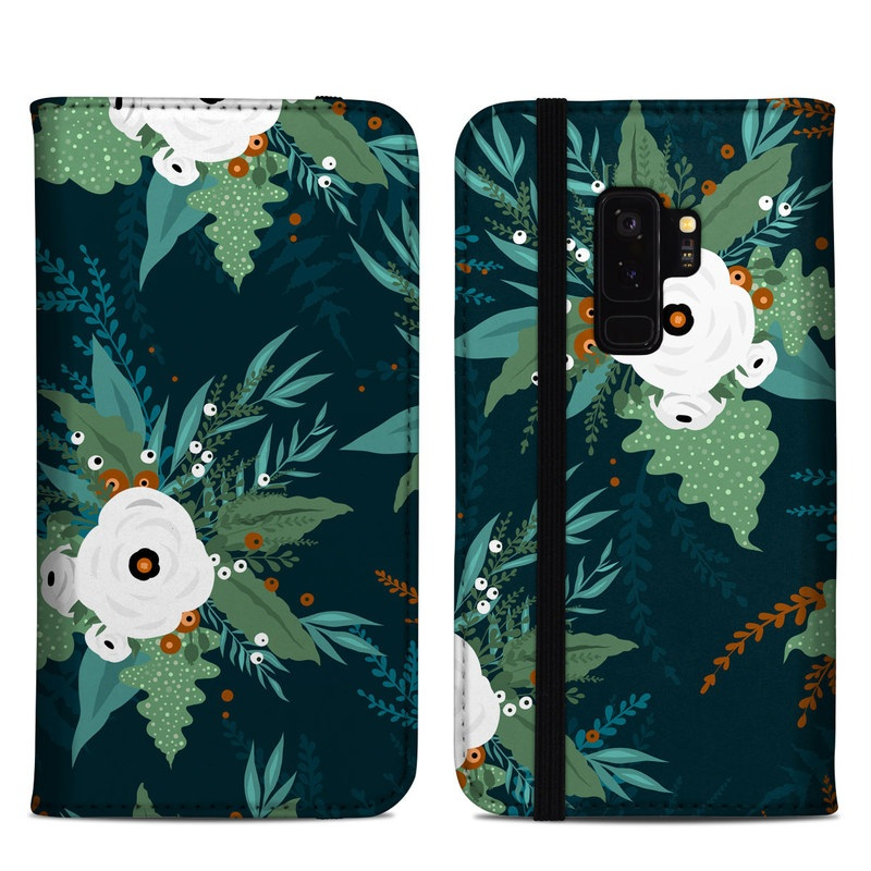Samsung Galaxy S9 Plus Folio Case design of Pattern, Branch, Tree, Illustration, Design, Plant, Textile, Art, Visual arts, Space with green, white, red, blue colors
