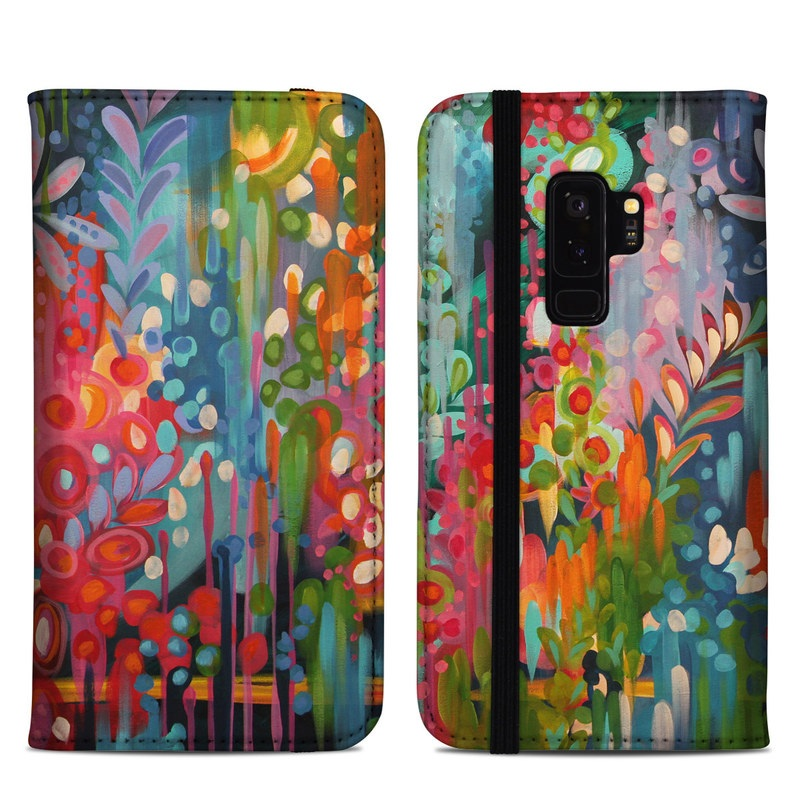 Samsung Galaxy S9 Plus Folio Case design of Painting, Modern art, Acrylic paint, Art, Visual arts, Watercolor paint, Child art, Flower, Plant, Tree with blue, red, orange, purple, yellow, pink, green colors