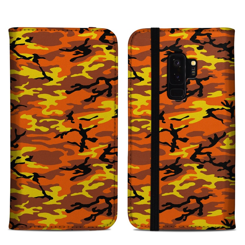 Samsung Galaxy S9 Plus Folio Case design of Military camouflage, Orange, Pattern, Camouflage, Yellow, Brown, Uniform, Design, Tree, Wildlife with red, green, black colors