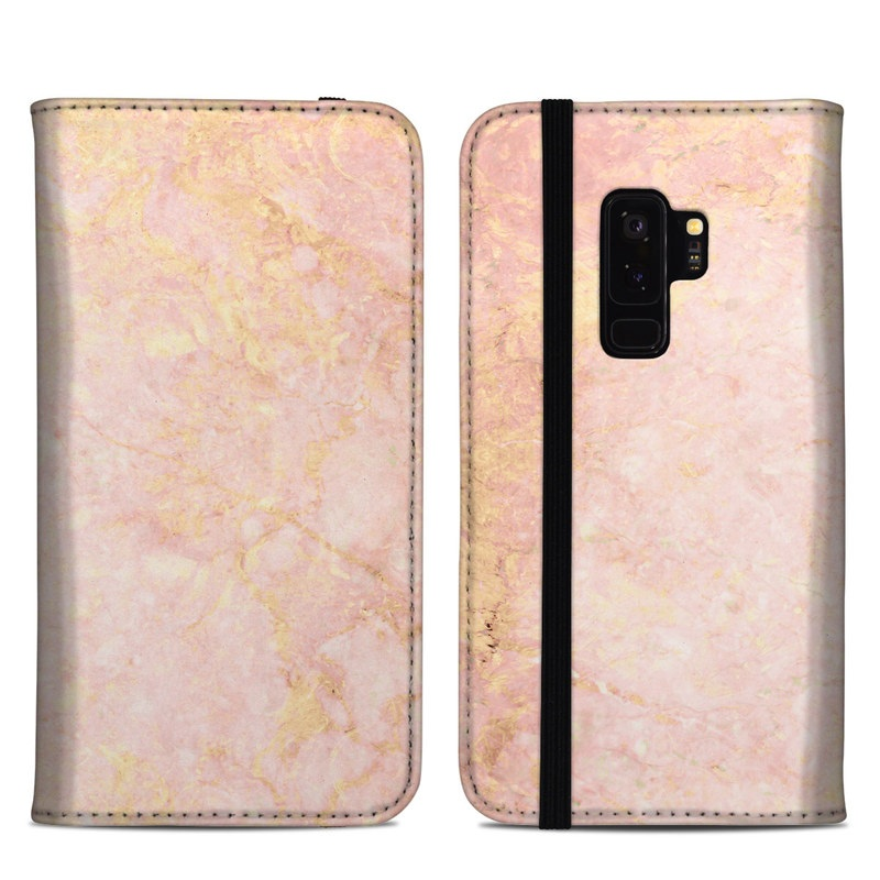 Samsung Galaxy S9 Plus Folio Case design of Pink, Peach, Wallpaper, Pattern with pink, yellow, orange colors