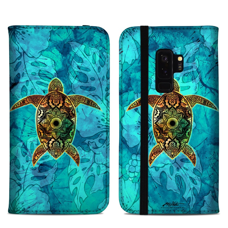 Samsung Galaxy S9 Plus Folio Case design of Sea turtle, Green sea turtle, Turtle, Hawksbill sea turtle, Tortoise, Reptile, Loggerhead sea turtle, Illustration, Art, Pattern with blue, black, green, gray, red colors