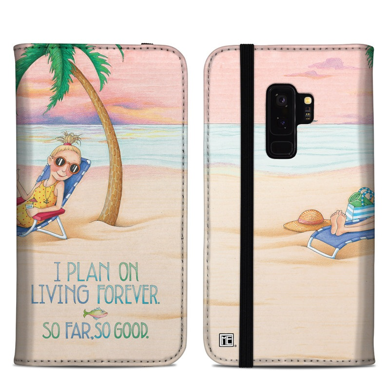 Samsung Galaxy S9 Plus Folio Case design of Vacation, Product, Summer, Aqua, Illustration, Sun tanning, Fictional character, Caribbean, Graphics, Happy with pink, green, brown, yellow, blue, white, red colors
