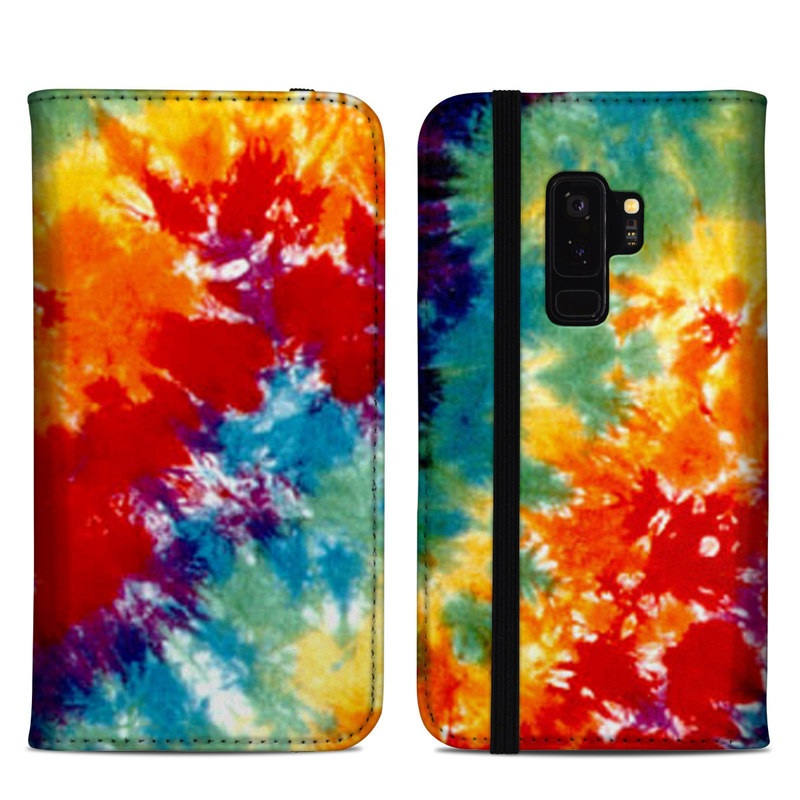 Samsung Galaxy S9 Plus Folio Case design of Orange, Watercolor paint, Sky, Dye, Acrylic paint, Colorfulness, Geological phenomenon, Art, Painting, Organism with red, orange, blue, green, yellow, purple colors