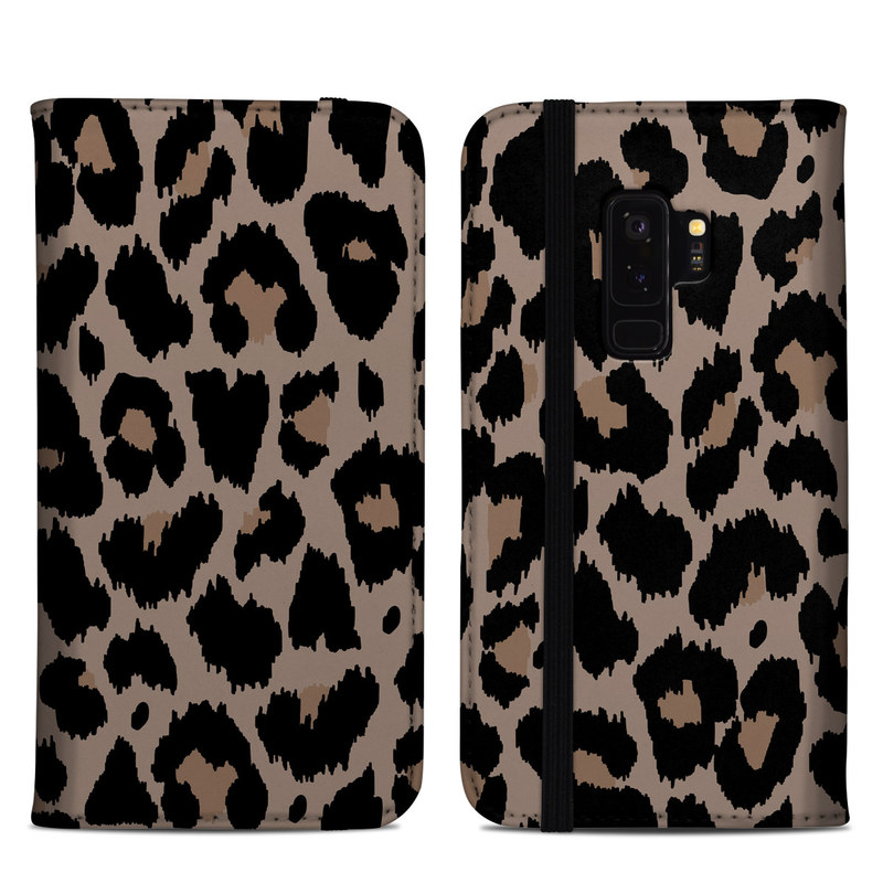 Samsung Galaxy S9 Plus Folio Case design of Pattern, Brown, Fur, Design, Textile, Monochrome, Fawn with black, gray, red, green colors