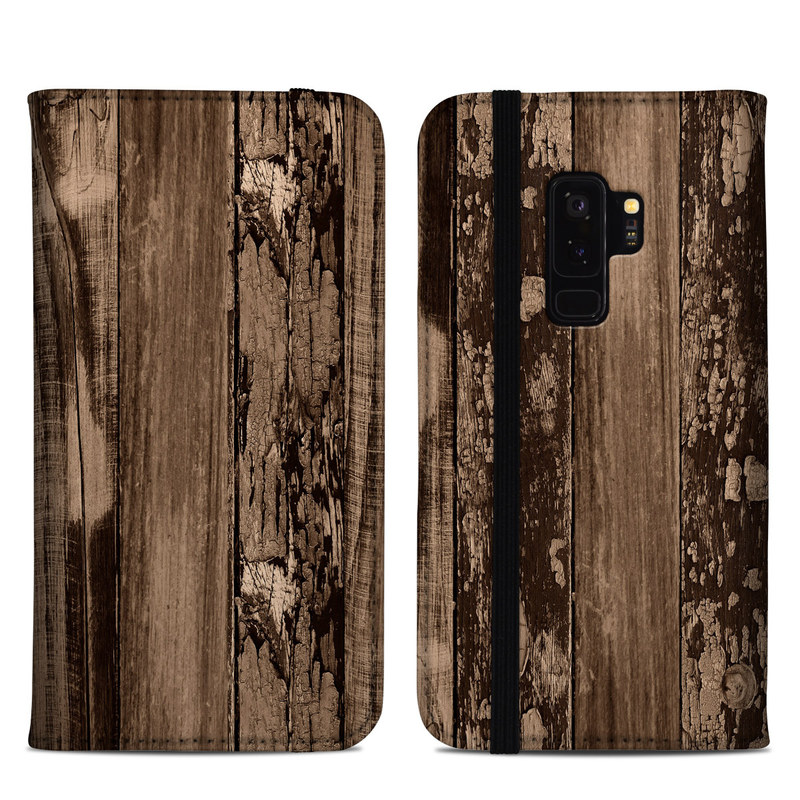 Samsung Galaxy S9 Plus Folio Case design of Wood, Tree, Brown, Plank, Trunk, Pattern, Line, Hardwood, Black-and-white, Forest with brown, black colors