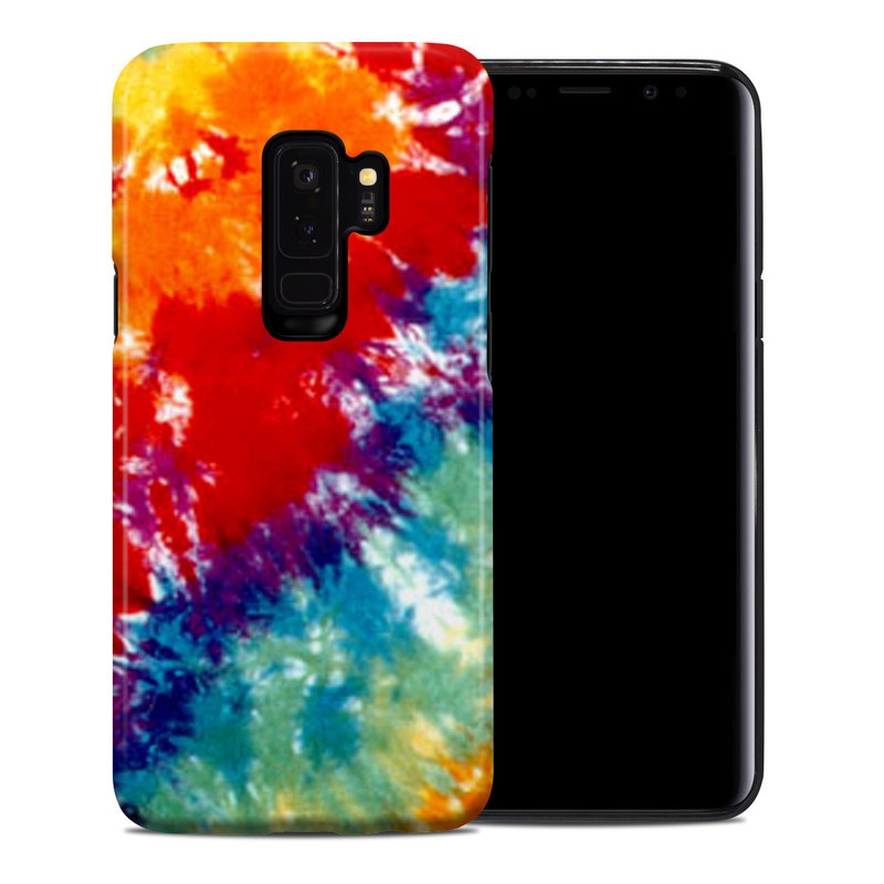 Samsung Galaxy S9 Plus Hybrid Case design of Orange, Watercolor paint, Sky, Dye, Acrylic paint, Colorfulness, Geological phenomenon, Art, Painting, Organism with red, orange, blue, green, yellow, purple colors