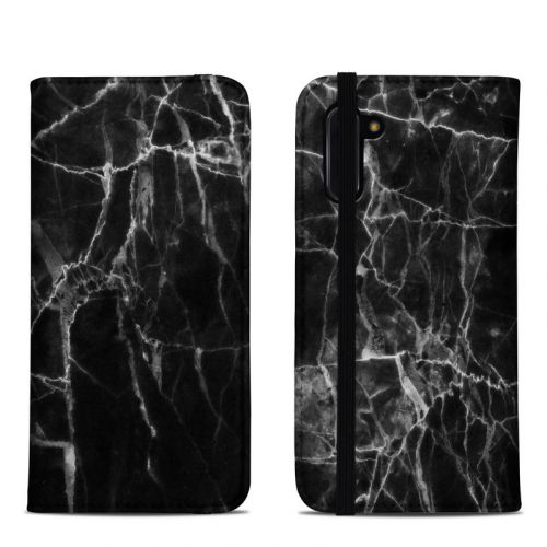 Black Marble Samsung Galaxy Note 10 Folio Case