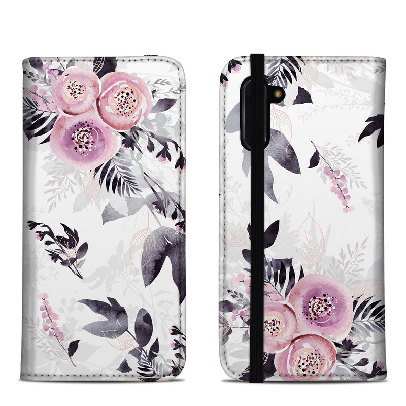 Samsung Galaxy Note 10 Folio Case design of Pink, Pattern, Design, Floral design, Textile, Plant, Flower, Magenta, Petal, Wallpaper with white, purple, pink, black, gray colors