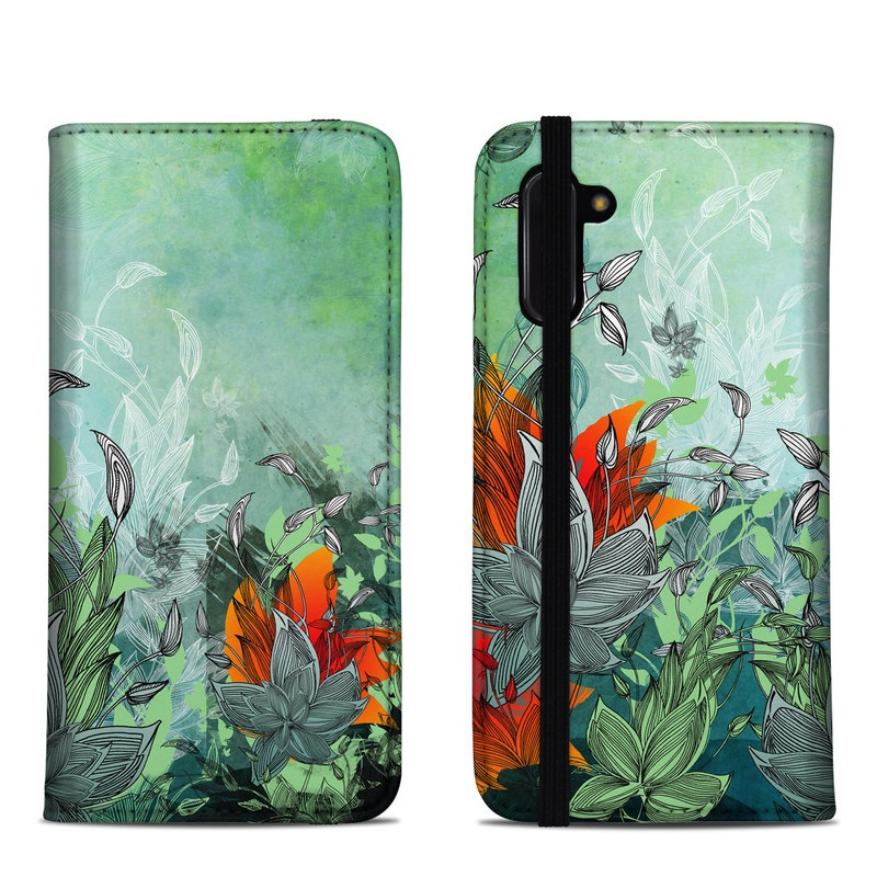 Samsung Galaxy Note 10 Folio Case design of Flower, Plant, Leaf, Botany, Watercolor paint, Illustration, Wildflower, Art, Landscape, Jungle with gray, black, blue, green, red colors