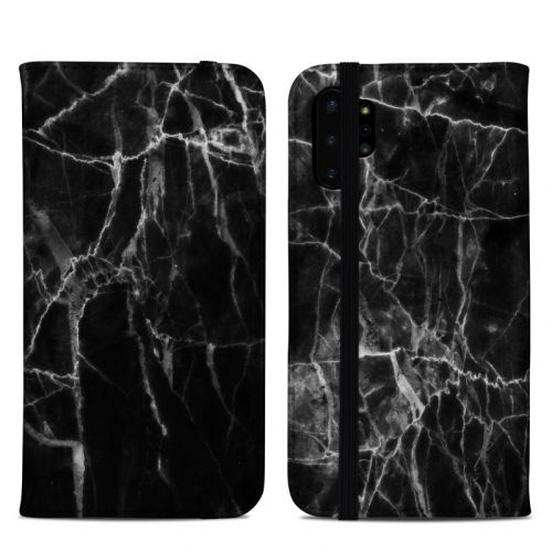 Black Marble Samsung Galaxy Note 10 Plus Folio Case