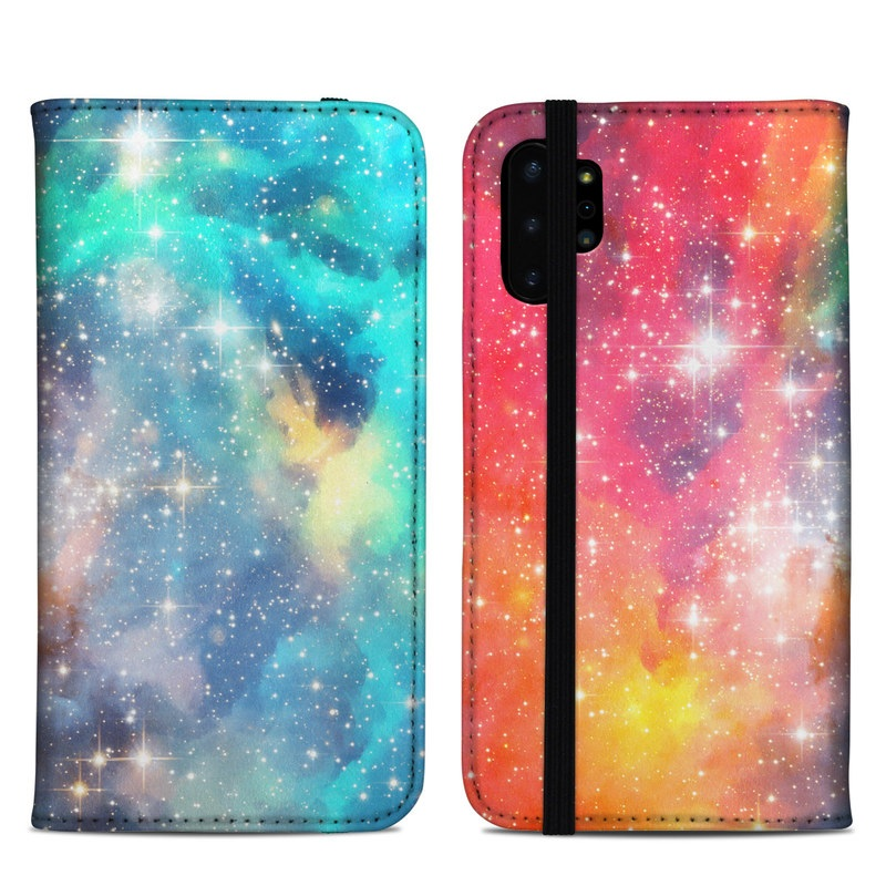 Samsung Galaxy Note 10 Plus Folio Case design of Nebula, Sky, Astronomical object, Outer space, Atmosphere, Universe, Space, Galaxy, Celestial event, Star with white, black, red, orange, yellow, blue colors