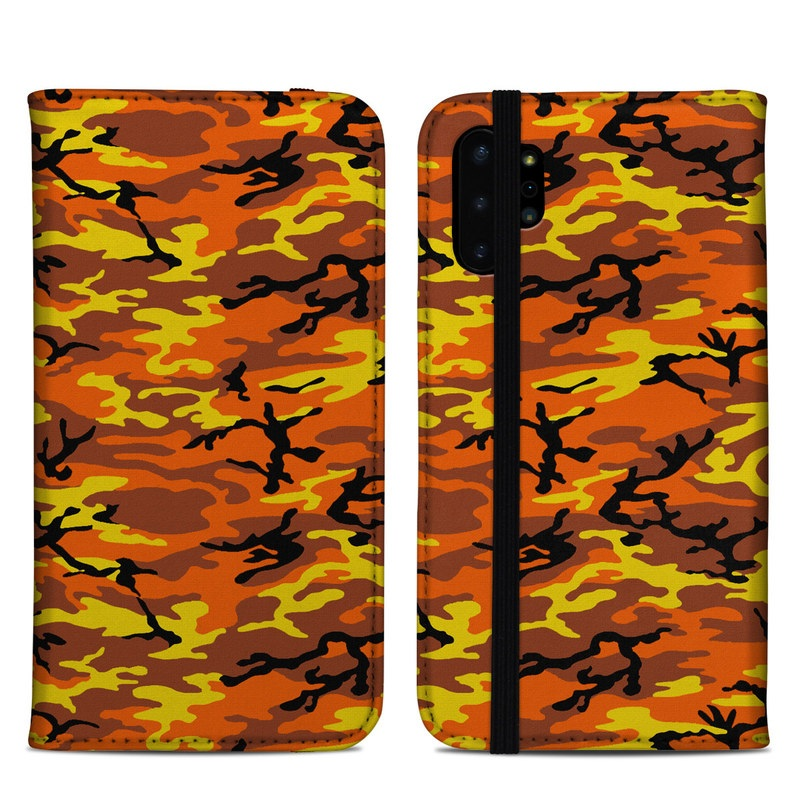Samsung Galaxy Note 10 Plus Folio Case design of Military camouflage, Orange, Pattern, Camouflage, Yellow, Brown, Uniform, Design, Tree, Wildlife with red, green, black colors
