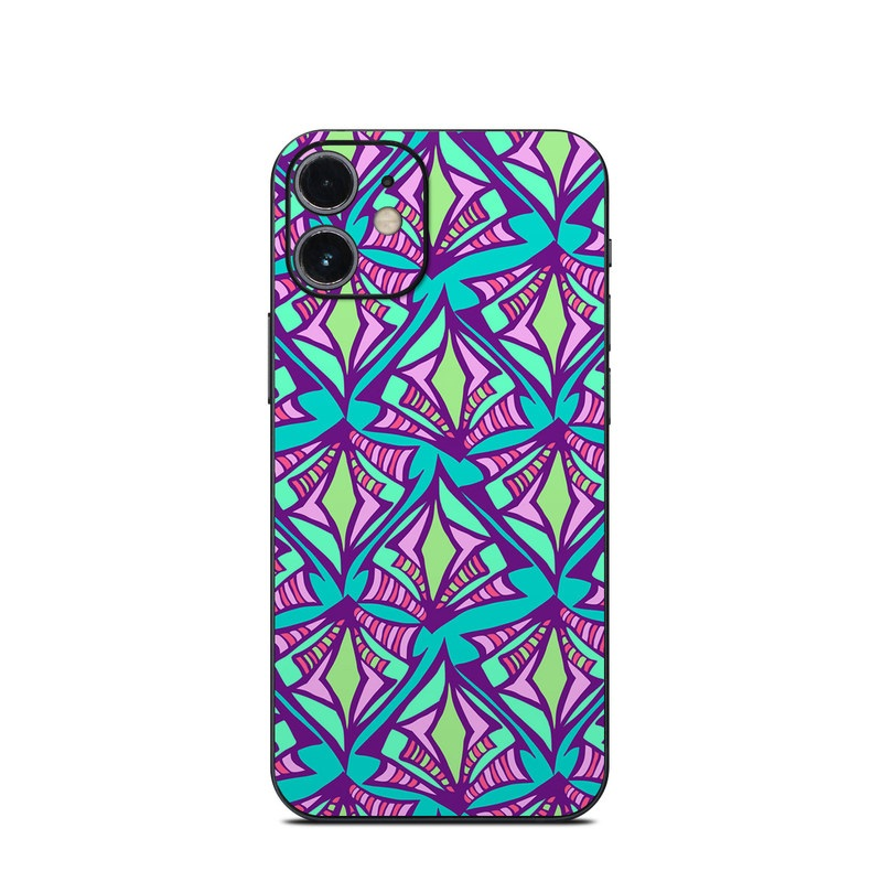 iPhone 12 mini Skin design of Pattern, Purple, Pink, Line, Magenta, Symmetry, Design, Teal, Textile with blue, purple, gray, green, pink colors