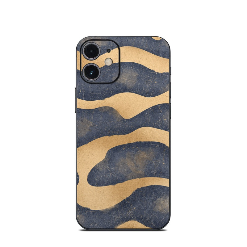 iPhone 12 mini Skin design of Art, Painting, Pattern, Font, Landscape, Dune, Illustration, Aeolian landform, Sand, Visual arts with blue, brown colors