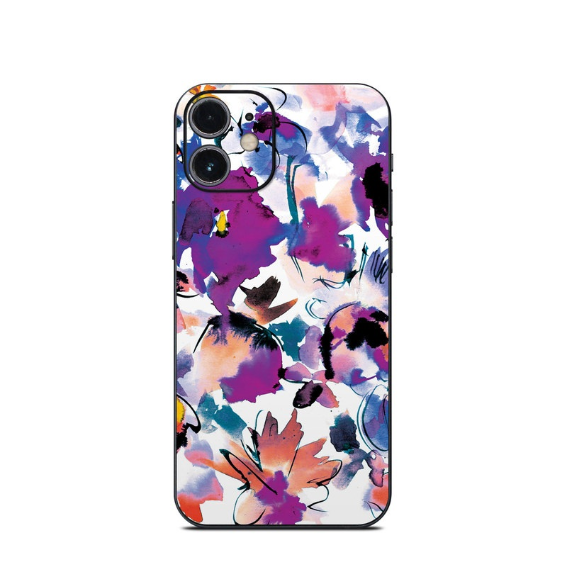 iPhone 12 mini Skin design of Product, Purple, Illustration, Graphic design, Plant, Clip art, Flower, Graphics, Wildflower, Watercolor paint with white, purple, pink, yellow, blue, black colors
