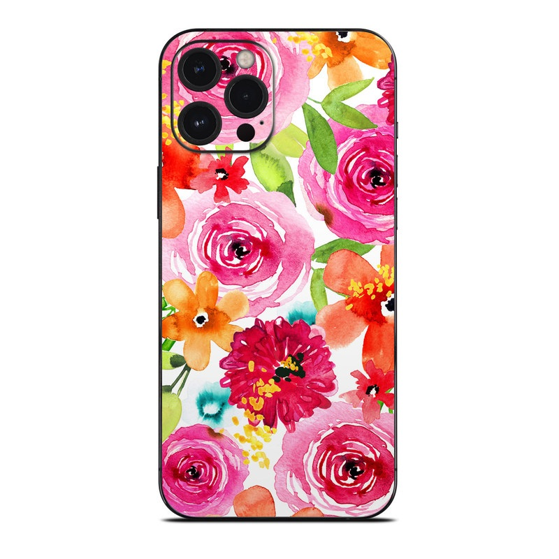 iPhone 12 Pro Max Skin design of Flower, Cut flowers, Floral design, Plant, Pink, Bouquet, Petal, Flower Arranging, Artificial flower, Clip art with pink, red, green, orange, yellow, blue, white colors