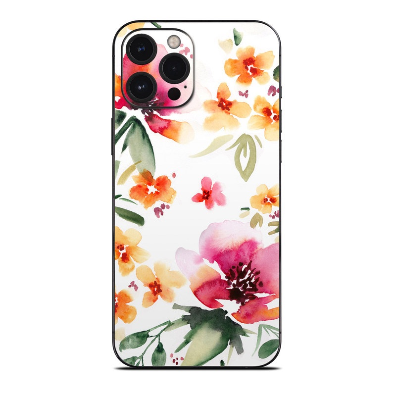 iPhone 12 Pro Max Skin design of Flower, Floral design, Pink, Pattern, Petal, Plant, Botany, Design, Wildflower, Clip art with white, pink, red, orange, green colors