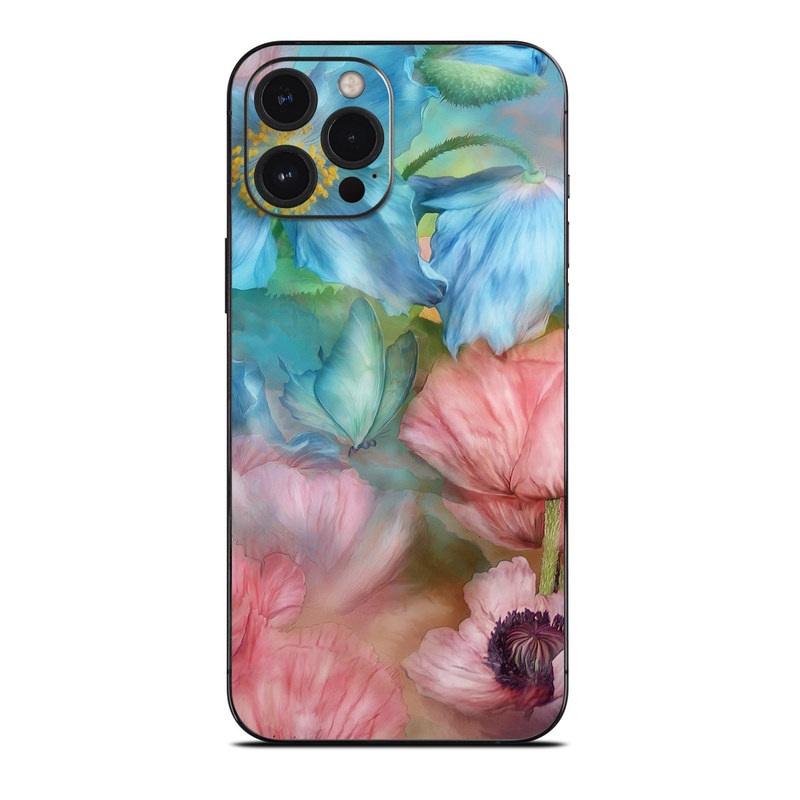 iPhone 12 Pro Max Skin design of Flower, Petal, Watercolor paint, Painting, Plant, Flowering plant, Pink, Botany, Wildflower, Still life with gray, blue, black, red, green colors