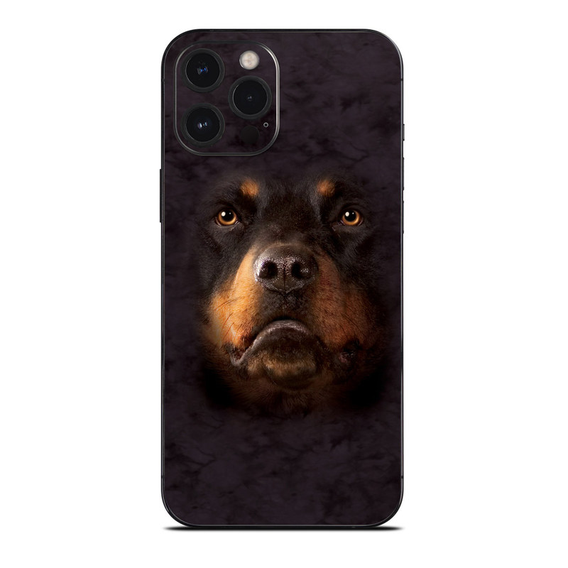 iPhone 12 Pro Max Skin design of Mammal, Dog, Vertebrate, Dog breed, Canidae, Rottweiler, Snout, Carnivore, Nose, Sporting Group with black, red, green, gray colors