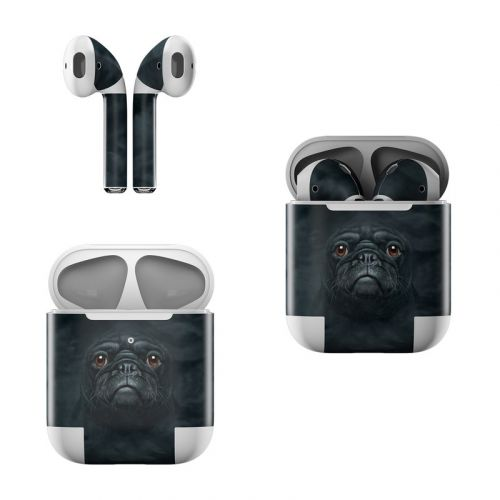 Black Pug Apple AirPods Skin