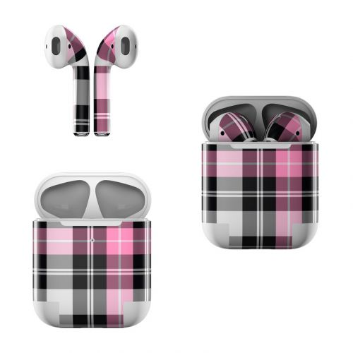 Pink Plaid Apple AirPods Skin