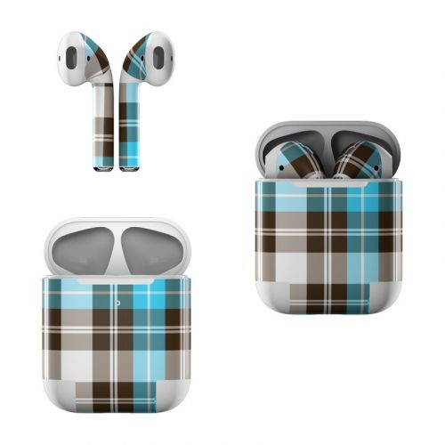 Turquoise Plaid Apple AirPods Skin
