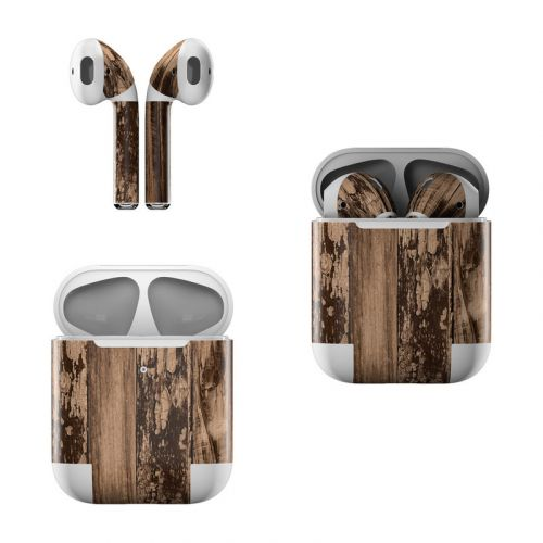 Weathered Wood Apple AirPods Skin