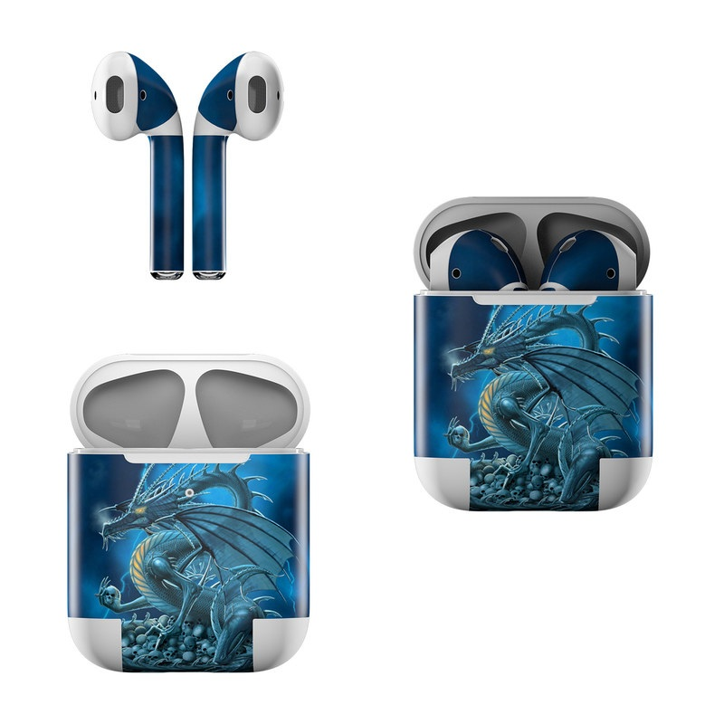 Apple AirPods Skin design of Cg artwork, Dragon, Mythology, Fictional character, Illustration, Mythical creature, Art, Demon with blue, yellow colors