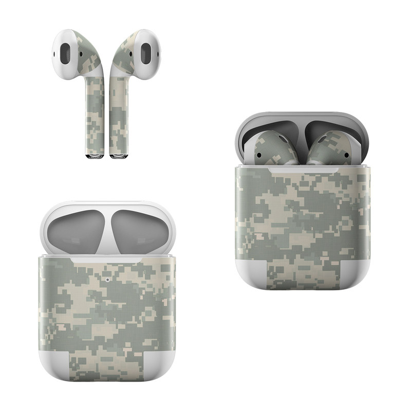 Apple AirPods Skin design of Military camouflage, Green, Pattern, Uniform, Camouflage, Design, Wallpaper with gray, green colors