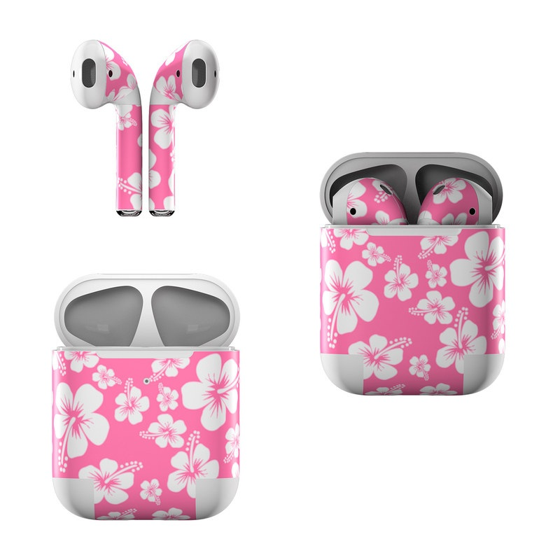 Apple AirPods Skin design of Pink, Pattern, Flower, Petal, Plant, Design, Floral design, Pedicel, Cherry blossom, Blossom with pink, white colors