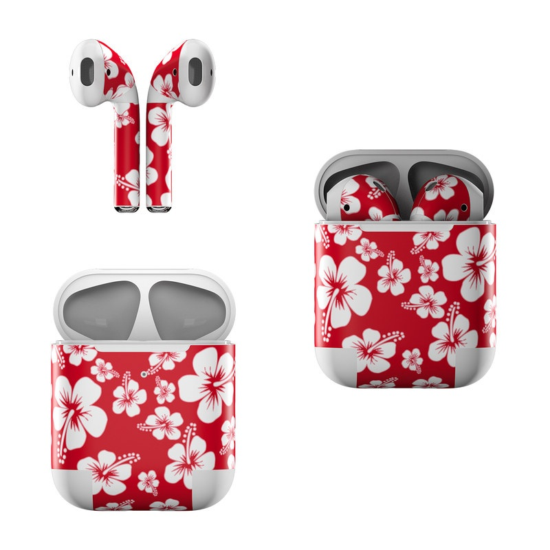 Apple AirPods Skin design of Pink, Pattern, Petal, Flower, Plant, Floral design, Design, Wildflower, Black-and-white, Hibiscus with red, white colors