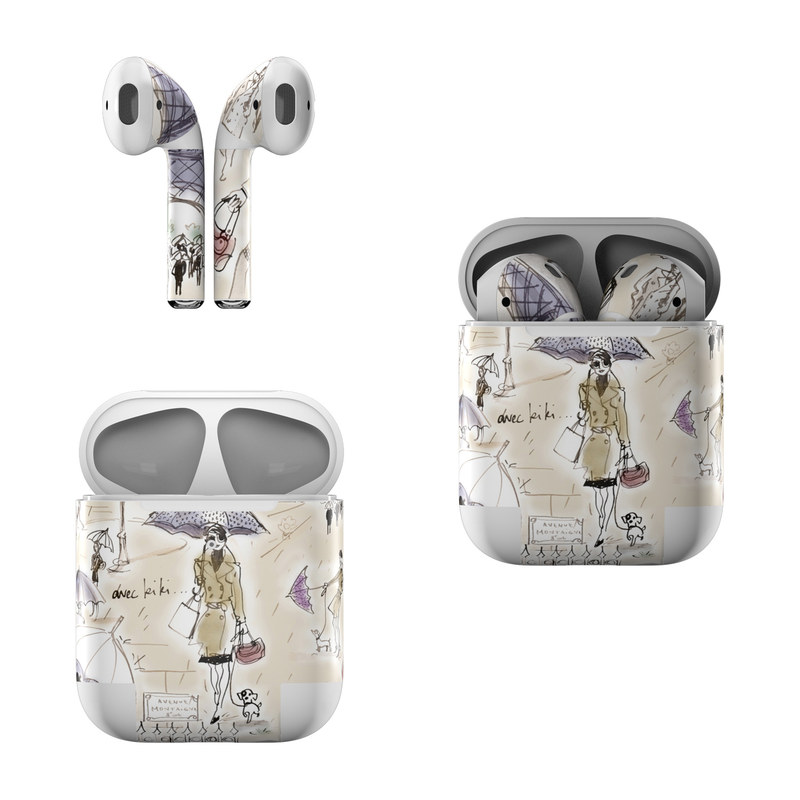 Apple AirPods Skin design of Cartoon, Umbrella, Illustration, Organism, Art, Fiction, Fictional character with brown, gray, purple colors
