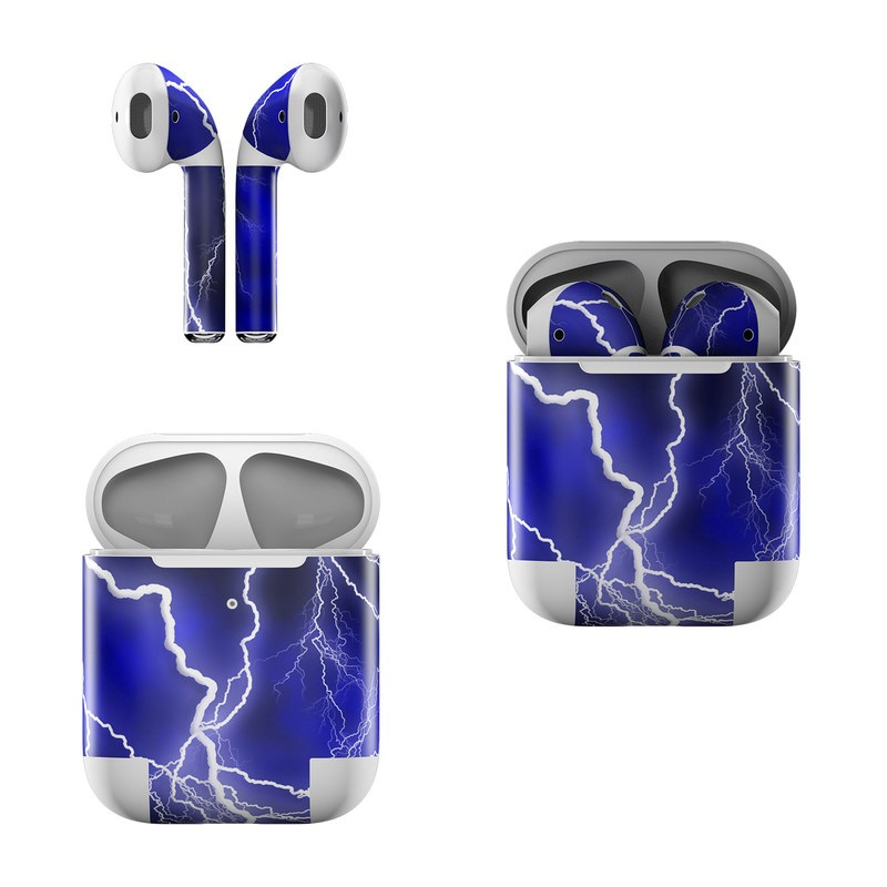 Apple AirPods Skin design of Thunder, Lightning, Thunderstorm, Sky, Nature, Electric blue, Atmosphere, Daytime, Blue, Atmospheric phenomenon with blue, black, white colors