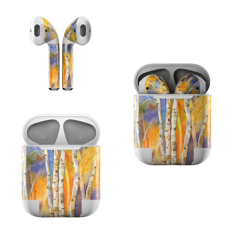 Apple AirPods Skin design of Canoe birch, Watercolor paint, Tree, Birch, Woody plant, Painting, Plant, Birch family, Paint, Trunk with orange, yellow, green, white, purple, blue colors