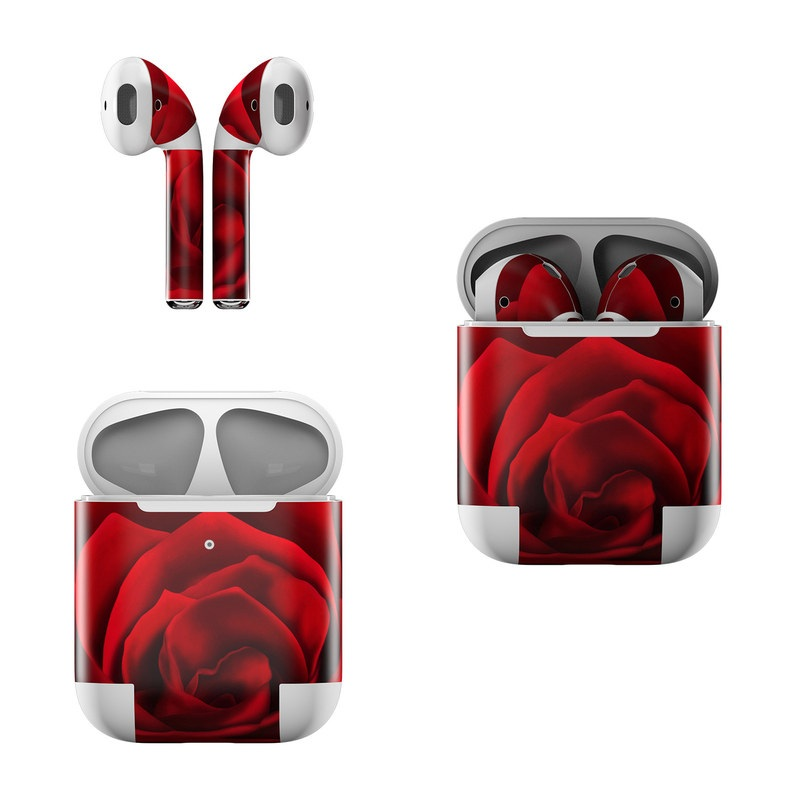 Apple AirPods Skin design of Red, Garden roses, Rose, Petal, Flower, Nature, Floribunda, Rose family, Close-up, Plant with black, red colors