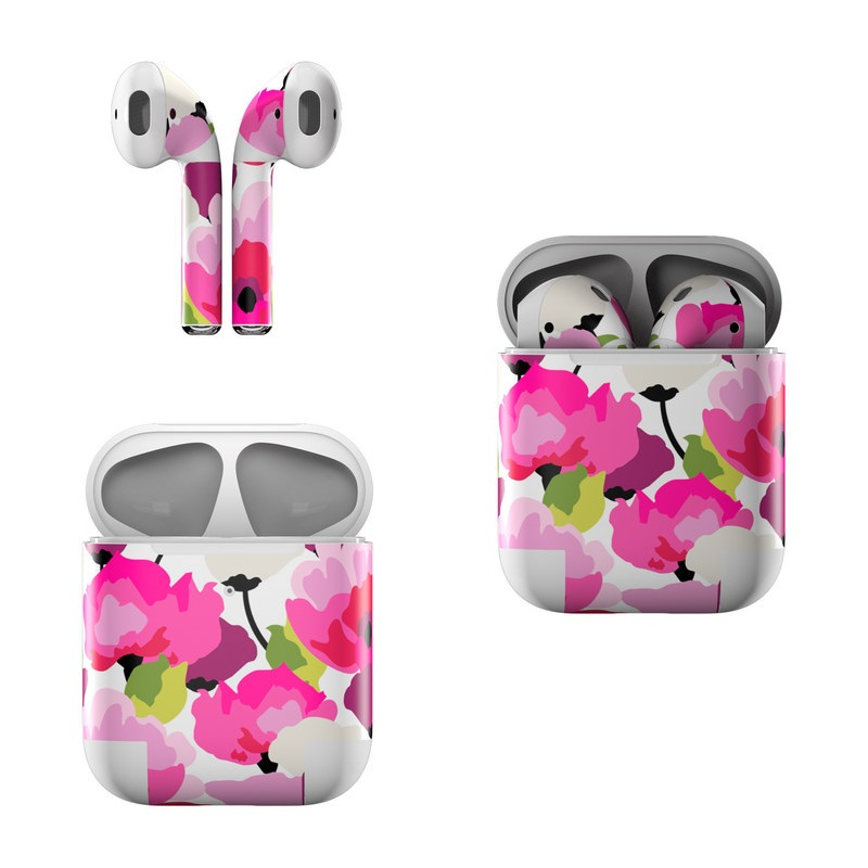 Apple AirPods Skin design of Pink, Flower, Pattern, Petal, Plant, Floral design, Design, Botany, Magenta, Anemone with white, pink, green, red colors