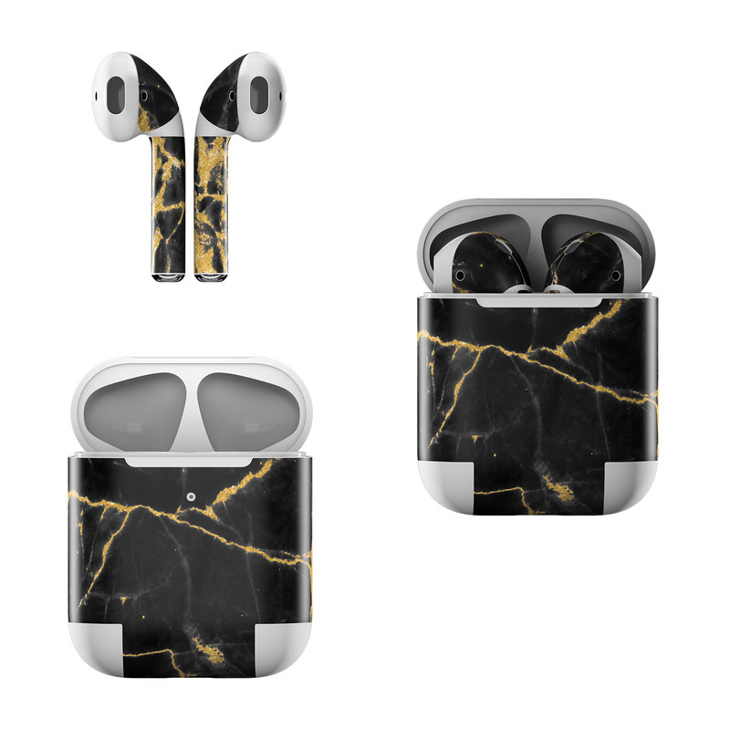 Apple AirPods Skin design of Black, Yellow, Water, Brown, Branch, Leaf, Rock, Tree, Marble, Sky with black, yellow colors