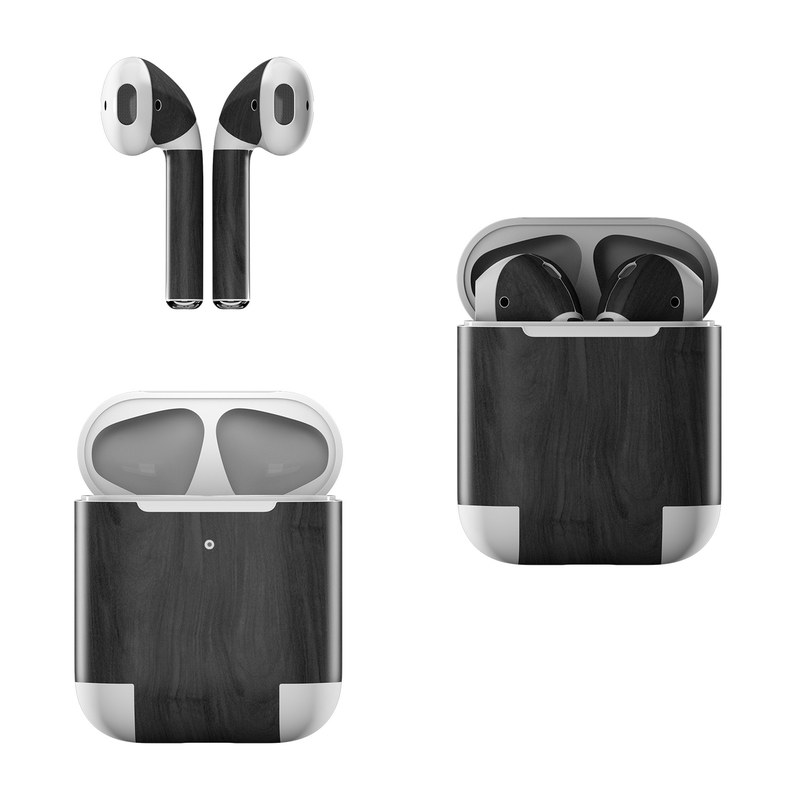 Apple AirPods Skin design of Black, Brown, Wood, Grey, Flooring, Floor, Laminate flooring, Wood flooring with black colors