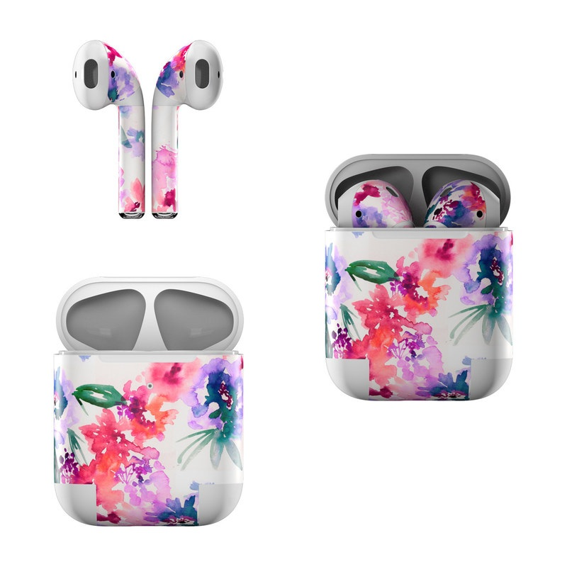 Apple AirPods Skin design of Purple, Pattern, Pink, Lilac, Violet, Flower, Watercolor paint, Floral design, Plant, Design with green, pink, red, purple, white colors